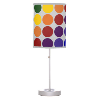 Rainbow Polka Dots on Grey Table Lamp