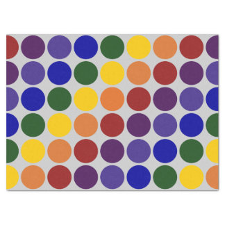 Rainbow Polka Dots on Grey Tissue Paper