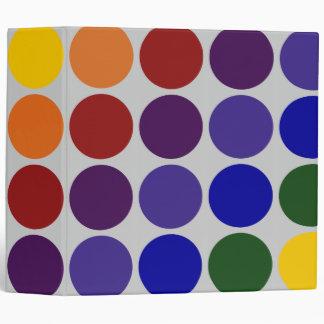 Rainbow Polka Dots on Grey Vinyl Binder