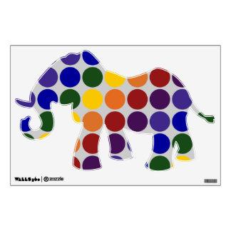 Rainbow Polka Dots on Grey Wall Sticker