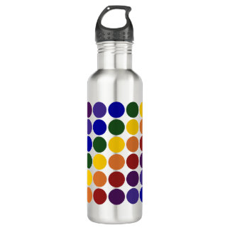 Rainbow Polka Dots on Grey Water Bottle