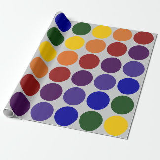 Rainbow Polka Dots on Grey wrapping paper