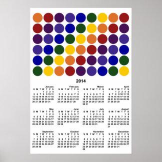 Rainbow Polka Dots on White 2014 Calendar Poster