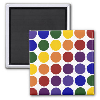 Rainbow Polka Dots on White 2 Inch Square Magnet