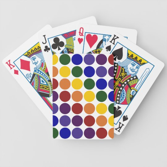 Rainbow Polka Dots on White Bicycle Playing Cards