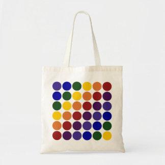Rainbow Polka Dots on White Budget Tote Bag