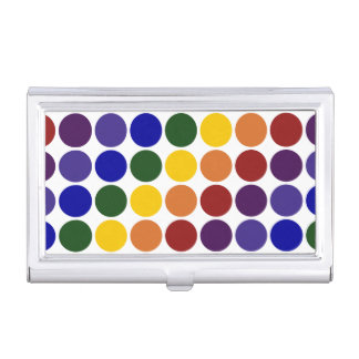 Rainbow Polka Dots on White Business Card Case