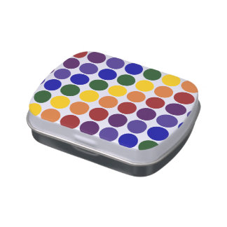 Rainbow Polka Dots on White Candy Tins