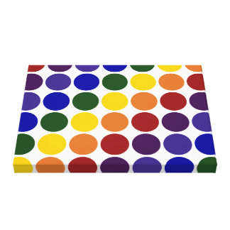 Rainbow Polka Dots on White Gallery Wrapped Canvas