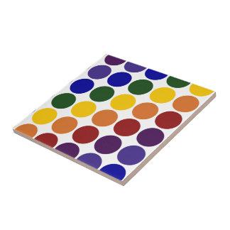 Rainbow Polka Dots on White Ceramic Tile