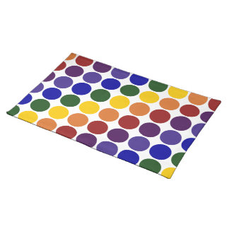Rainbow Polka Dots on White Cloth Place Mat