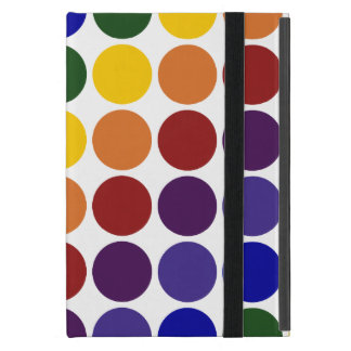 Rainbow Polka Dots on White Cover For iPad Mini
