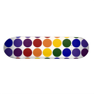 Rainbow Polka Dots on White Custom Skate Board