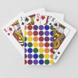Rainbow Polka Dots on White Deck Of Cards