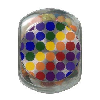 Rainbow Polka Dots on White Glass Candy Jars