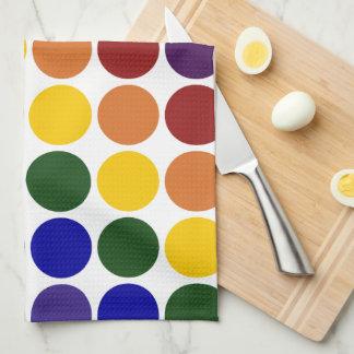 Rainbow Polka Dots on White Hand Towels