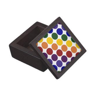 Rainbow Polka Dots on White Keepsake Box