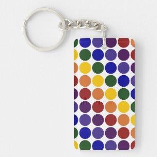 Rainbow Polka Dots on White Rectangle Acrylic Keychain