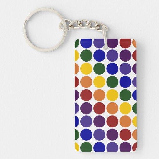 Rainbow Polka Dots on White Keychain