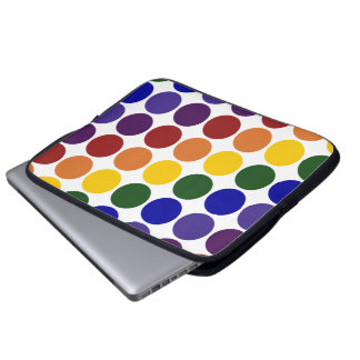 Rainbow Polka Dots on White Laptop Computer Sleeves