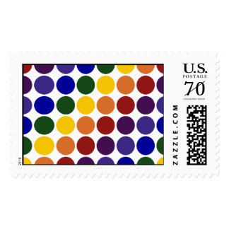 Rainbow Polka Dots on White – Large Postage