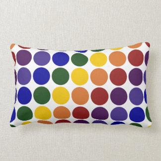 Rainbow Polka Dots on White Lumbar Pillow