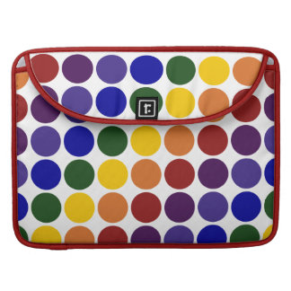 Rainbow Polka Dots on White Sleeves For MacBook Pro