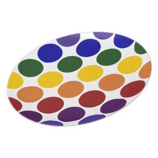 Rainbow Polka Dots on White Melamine Plate