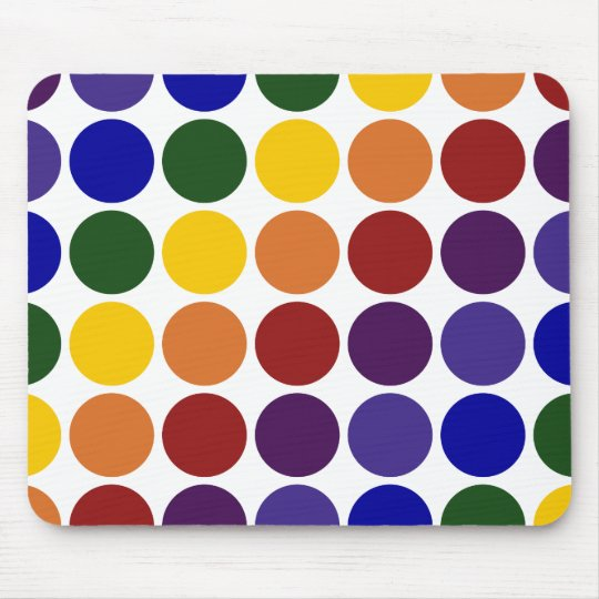 Rainbow Polka Dots on White Mouse Pad