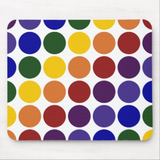 Rainbow Polka Dots on White Mousepad