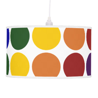Rainbow Polka Dots on White Pendant Lamps