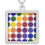 Rainbow Polka Dots on White Personalized Necklace