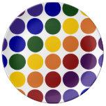 Rainbow Polka Dots on White Porcelain Plates