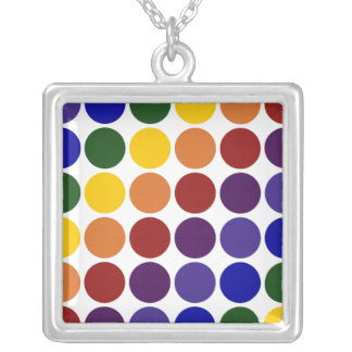Rainbow Polka Dots on White Silver Plated Necklace