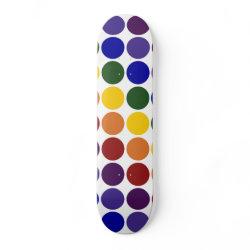 Rainbow Polka Dots on White skateboard