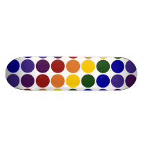 Rainbow Polka Dots on White Skateboard