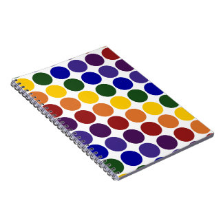 Rainbow Polka Dots on White Spiral Notebooks