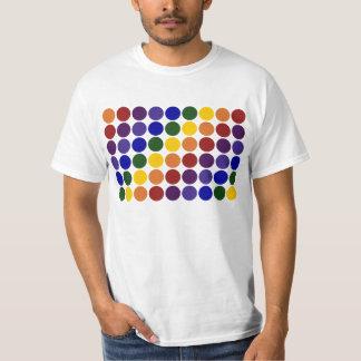 Rainbow Polka Dots on White T-Shirt