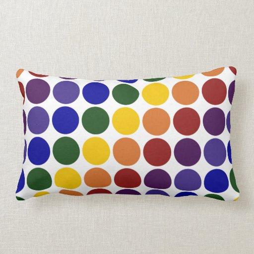 Rainbow Polka Dots on White Throw Pillow