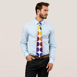 Rainbow Polka Dots on White tie