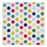 Rainbow polka dots poster