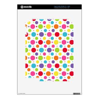 Rainbow polka dots skins for iPad 2