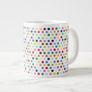 Rainbow polka dots 20 oz large ceramic coffee mug
