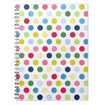 Rainbow polka dots spiral note books