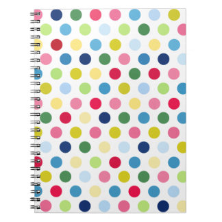 Rainbow polka dots spiral notebook