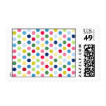 Rainbow polka dots stamp