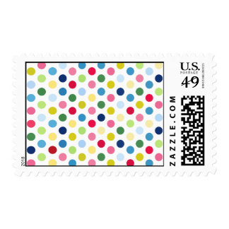 Rainbow polka dots stamp