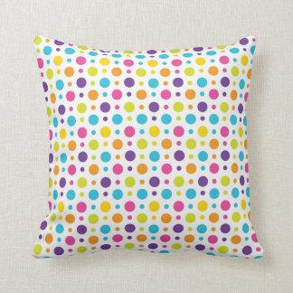 Rainbow Polka Dots Throw Pillow