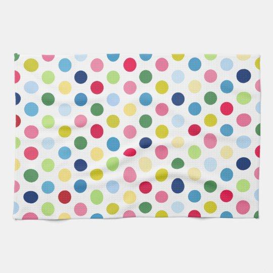 Rainbow polka dots towel