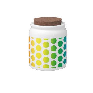 Rainbow Polka Dots White Candy Jars